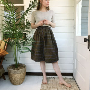 Vintage 50's Striped Button Down Midi Skirt